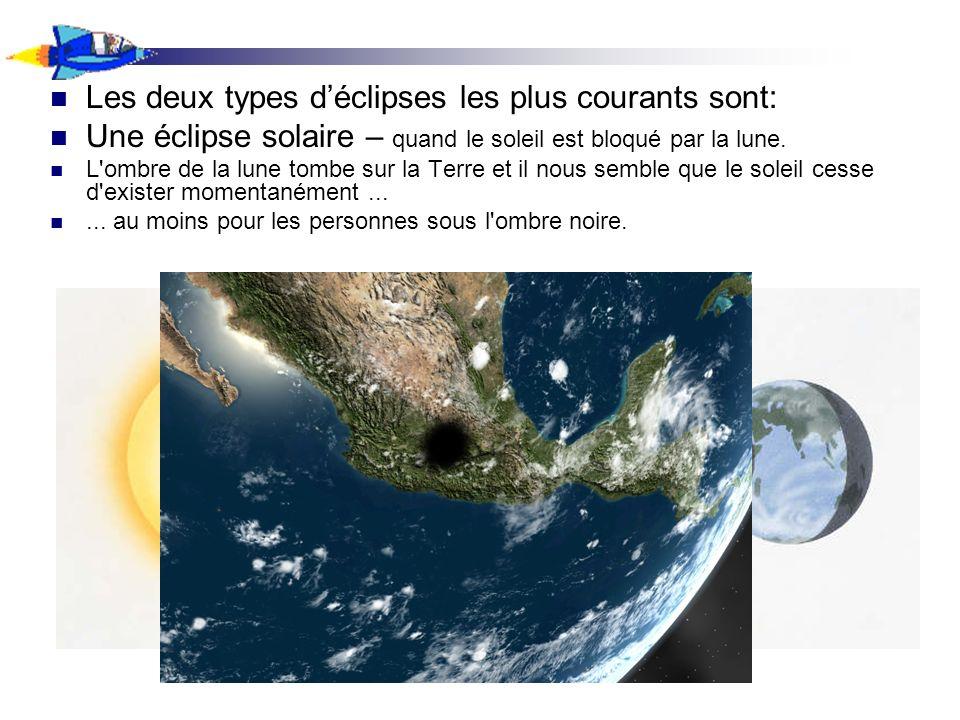 Les deux types déclipses les plus courants sont: Une éclipse solaire – quand le soleil est bloqué par la lune. L'ombre de la lune tombe sur la Terre e