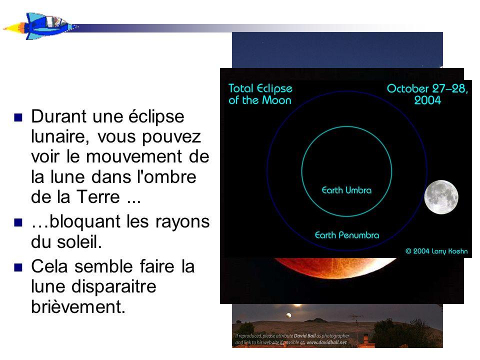 Durant une éclipse lunaire, vous pouvez voir le mouvement de la lune dans l'ombre de la Terre... …bloquant les rayons du soleil. Cela semble faire la