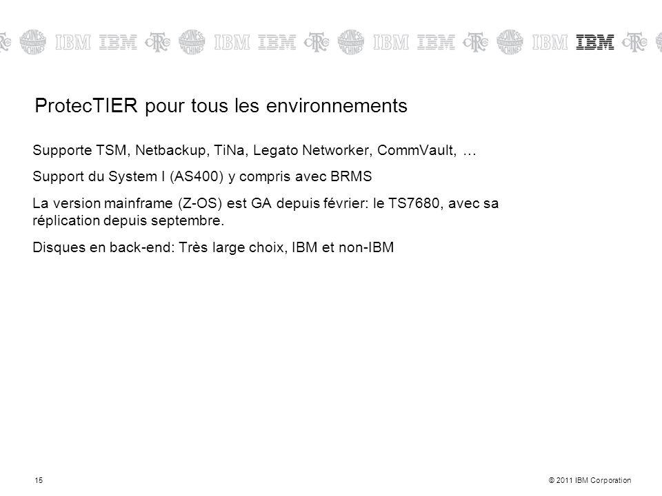 © 2011 IBM Corporation15 ProtecTIER pour tous les environnements Supporte TSM, Netbackup, TiNa, Legato Networker, CommVault, … Support du System I (AS400) y compris avec BRMS La version mainframe (Z-OS) est GA depuis février: le TS7680, avec sa réplication depuis septembre.