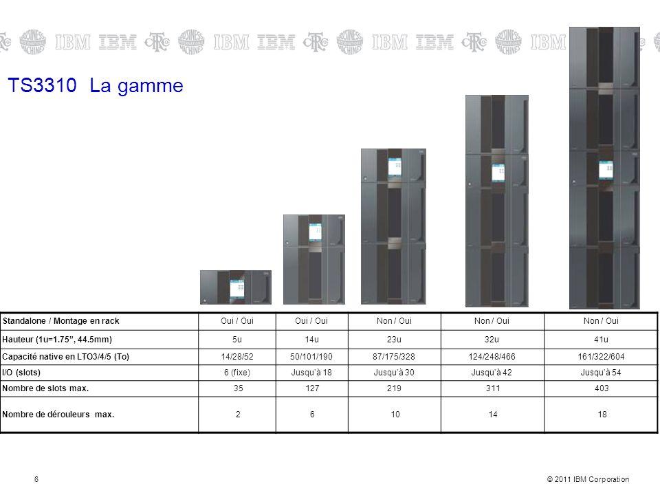 © 2011 IBM Corporation6 TS3310 La gamme Standalone / Montage en rackOui / Oui Non / Oui Hauteur (1u=1.75, 44.5mm)5u14u23u32u41u Capacité native en LTO3/4/5 (To)14/28/5250/101/19087/175/328124/248/466161/322/604 I/O (slots)6 (fixe)Jusquà 18Jusquà 30Jusquà 42Jusquà 54 Nombre de slots max.