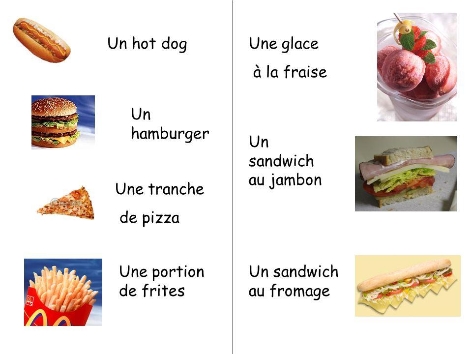 Un hamburger Une tranche de pizza Une portion de frites Une glace à la fraise Un sandwich au jambon Un sandwich au fromage