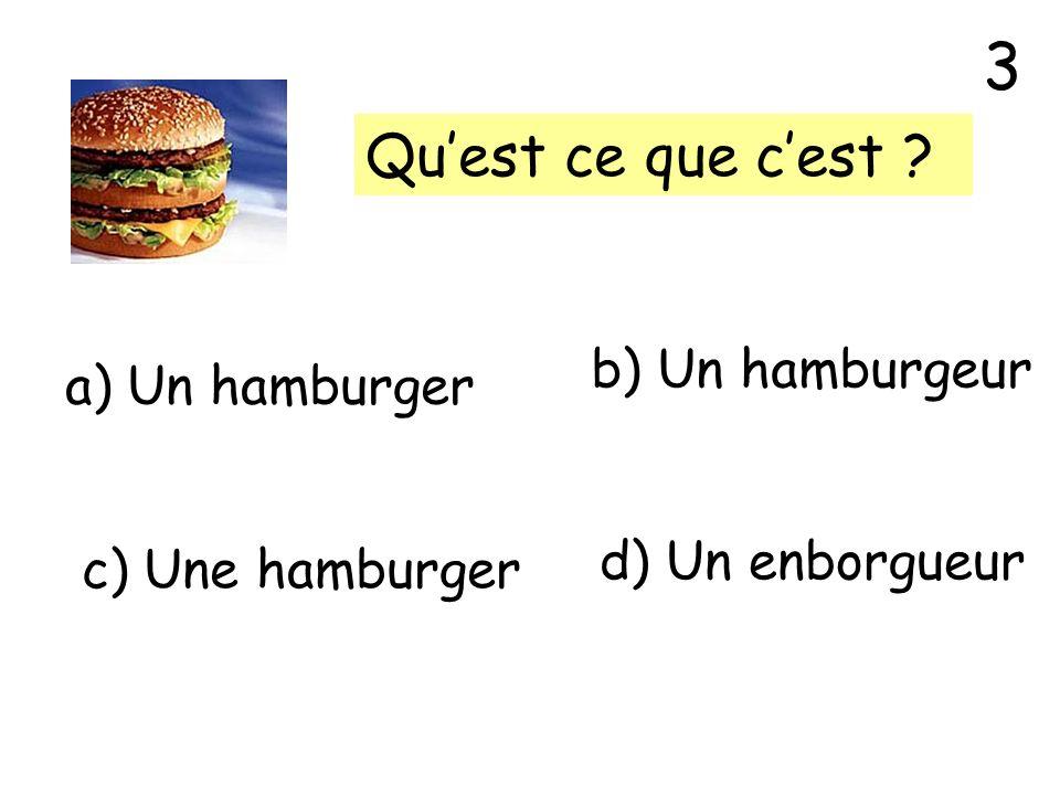 Quest ce que cest ? a) Un hamburger b) Un hamburgeur c) Une hamburger d) Un enborgueur 3