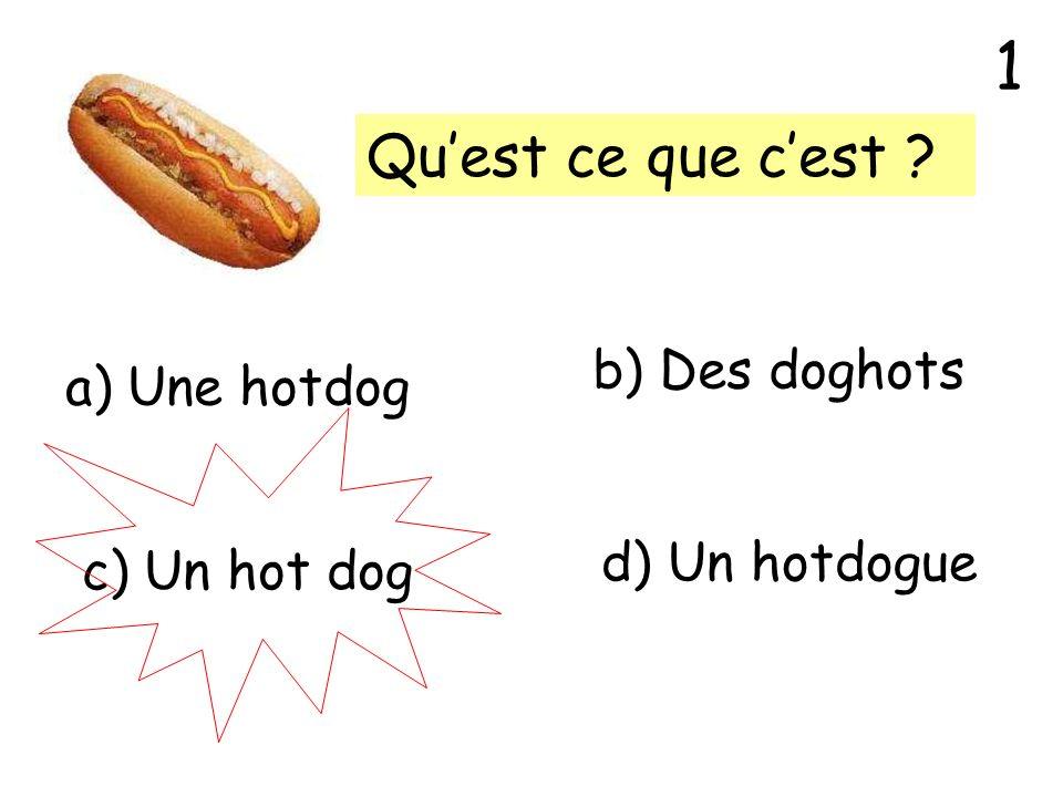 Quest ce que cest ? a) Une hotdog b) Des doghots c) Un hot dog d) Un hotdogue 1
