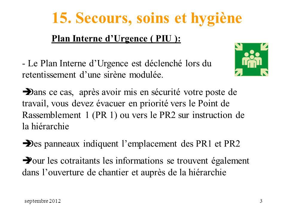 septembre 20123 15. Secours, soins et hygiène Plan Interne dUrgence ( PIU ): - Le Plan Interne dUrgence est déclenché lors du retentissement dune sirè
