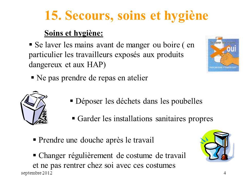 septembre 20124 15. Secours, soins et hygiène Soins et hygiène: Se laver les mains avant de manger ou boire ( en particulier les travailleurs exposés