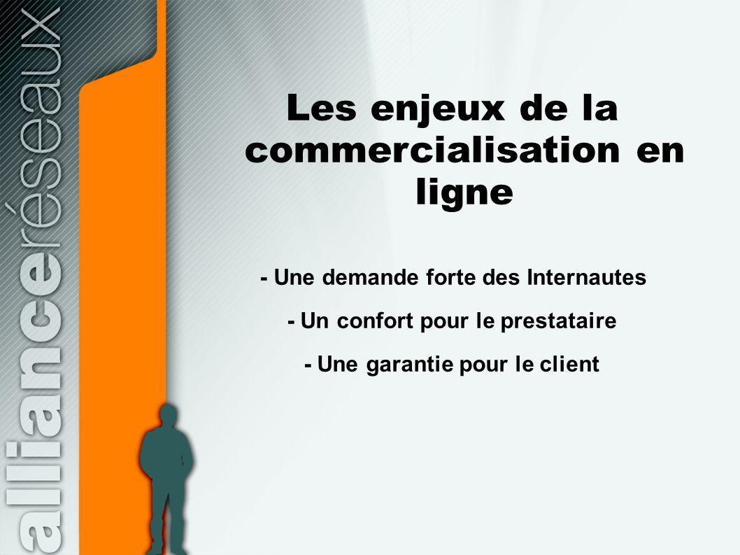 Les enjeux de la commercialisation en ligne - Une demande forte des Internautes - Un confort pour le prestataire - Une garantie pour le client