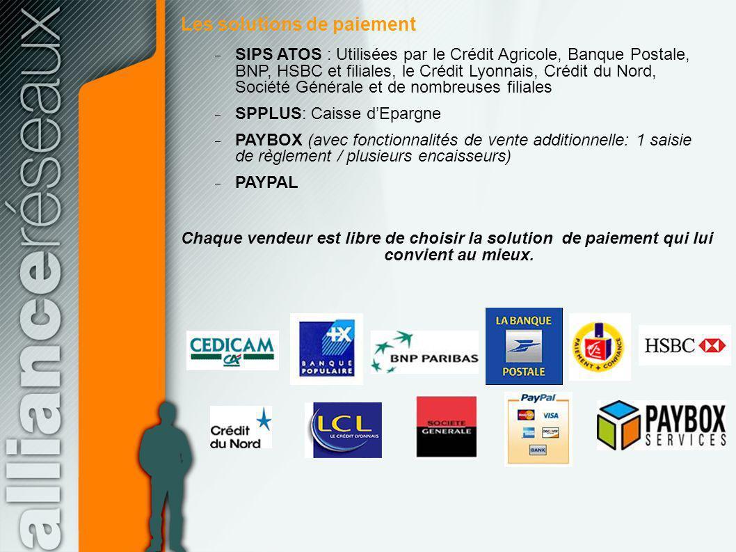 Les solutions de paiement SIPS ATOS : Utilisées par le Crédit Agricole, Banque Postale, BNP, HSBC et filiales, le Crédit Lyonnais, Crédit du Nord, Soc