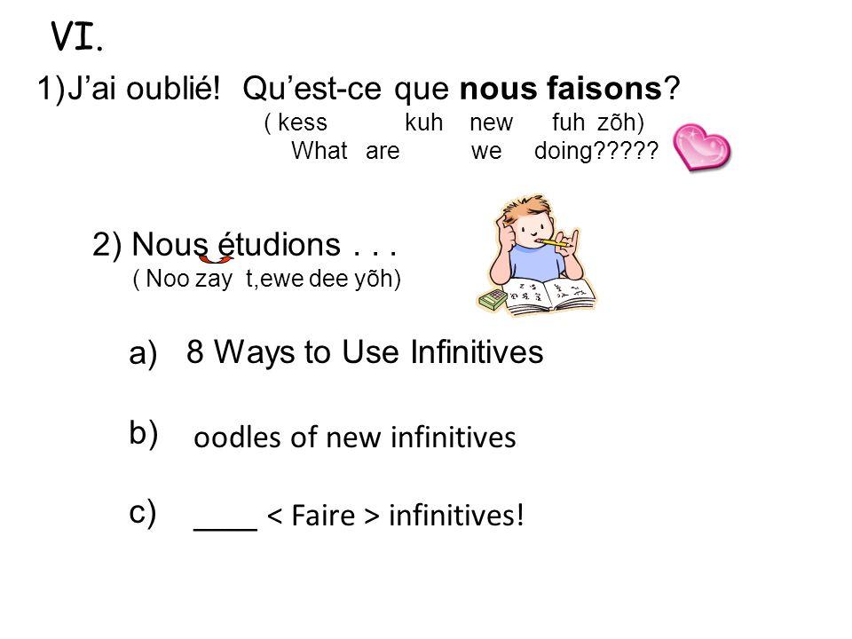 1)Jai oublié! Quest-ce que nous faisons? ( kess kuh new fuh zõh) What are we doing????? 2) Nous étudions... ( Noo zay t,ewe dee yõh) a) b) c) 3) Une i