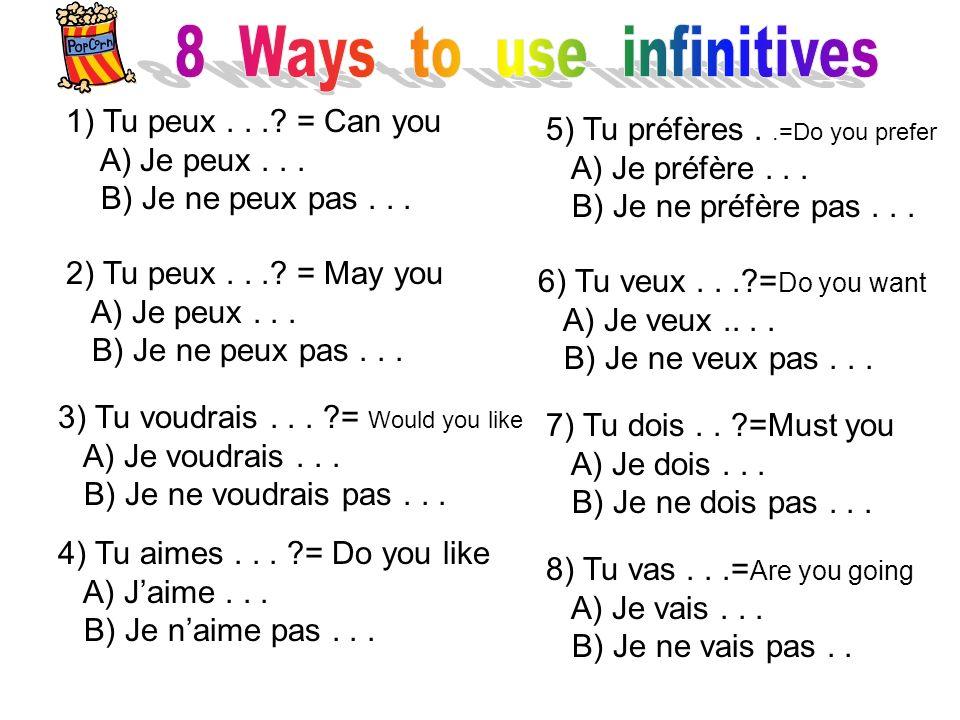1) Tu peux...? = Can you A) Je peux... B) Je ne peux pas... 2) Tu peux...? = May you A) Je peux... B) Je ne peux pas... 4) Tu aimes... ?= Do you like