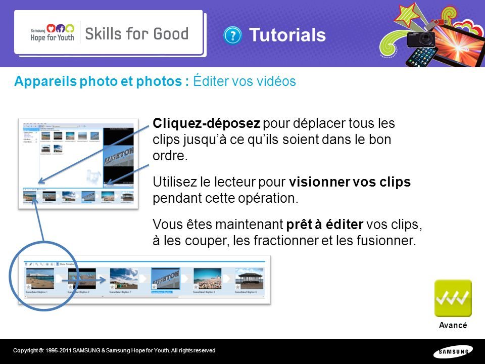 Tutorials Copyright ©: 1995-2011 SAMSUNG & Samsung Hope for Youth. All rights reserved Appareils photo et photos : Éditer vos vidéos Cliquez-déposez p
