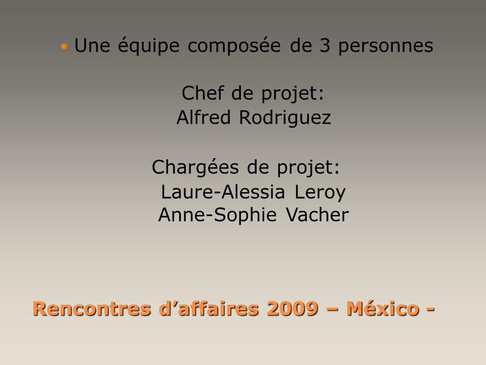 Rencontres daffaires 2009 – México - Une équipe composée de 3 personnes Chef de projet: Alfred Rodriguez Chargées de projet: Laure-Alessia Leroy Anne-
