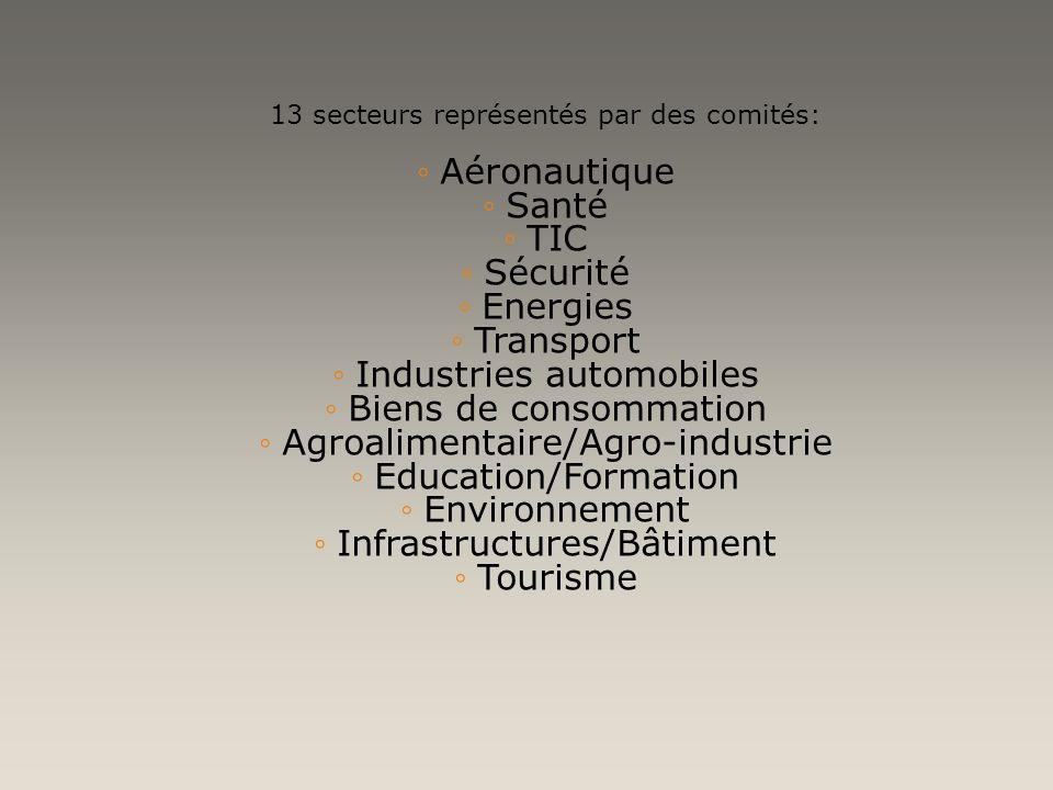 13 secteurs représentés par des comités: Aéronautique Santé TIC Sécurité Energies Transport Industries automobiles Biens de consommation Agroalimentai