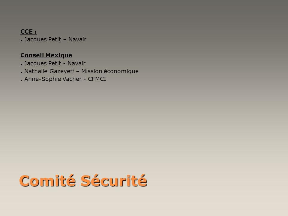 Comité Sécurité CCE :. Jacques Petit – Navair Conseil Mexique. Jacques Petit - Navair. Nathalie Gazeyeff – Mission économique. Anne-Sophie Vacher - CF