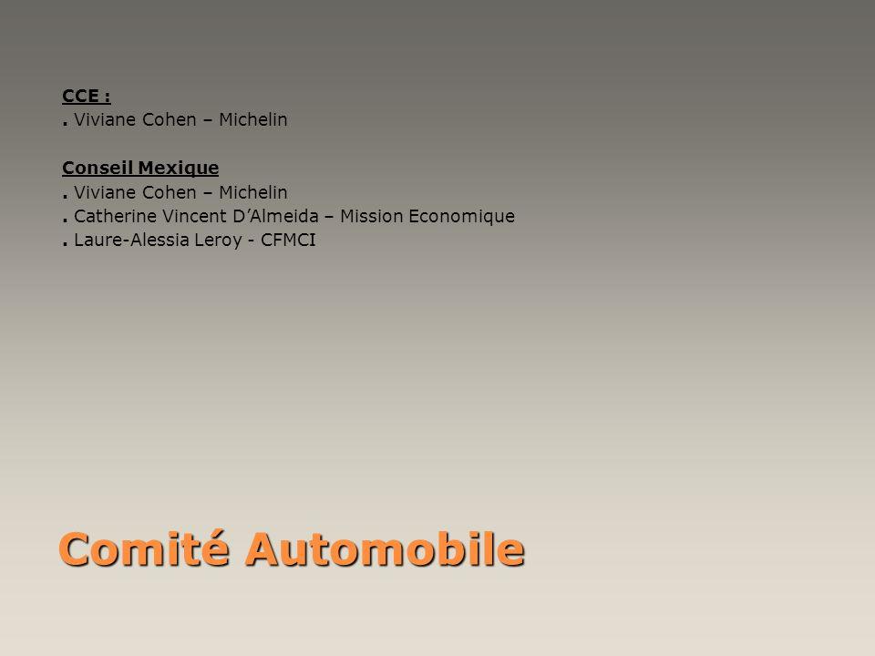 Comité Automobile CCE :. Viviane Cohen – Michelin Conseil Mexique. Viviane Cohen – Michelin. Catherine Vincent DAlmeida – Mission Economique. Laure-Al