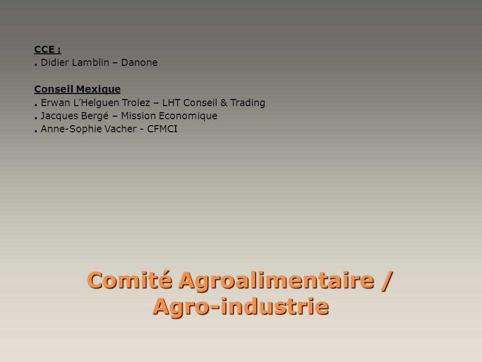 Comité Agroalimentaire / Agro-industrie CCE :. Didier Lamblin – Danone Conseil Mexique. Erwan LHelguen Trolez – LHT Conseil & Trading. Jacques Bergé –