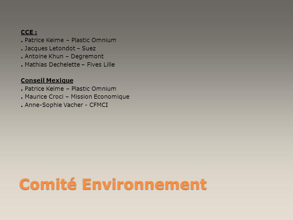 Comité Environnement CCE :. Patrice Keime – Plastic Omnium. Jacques Letondot – Suez. Antoine Khun – Degremont. Mathias Dechelette – Fives Lille Consei
