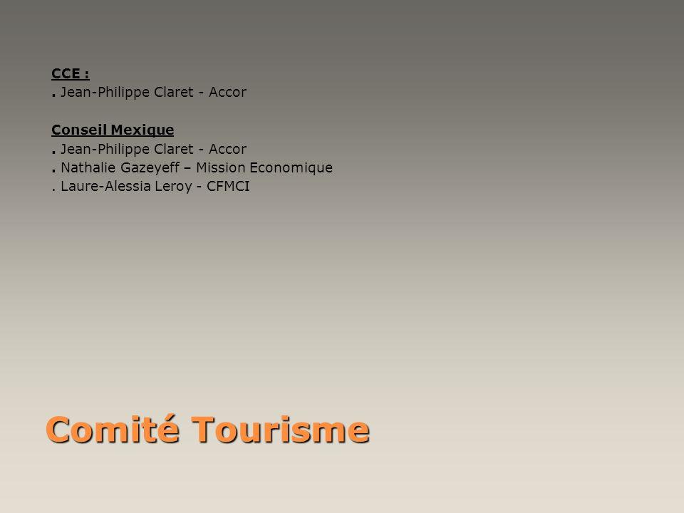 Comité Tourisme CCE :. Jean-Philippe Claret - Accor Conseil Mexique. Jean-Philippe Claret - Accor. Nathalie Gazeyeff – Mission Economique. Laure-Aless