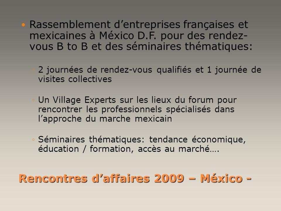 Rencontres daffaires 2009 – México - Réciprocité: Sagissant dun évènement franco-mexicain, Proméxico sera un acteur prioritaire dans le sens Mexique - France, en faisant sa promotion auprès des entreprises mexicaines qui seraient intéressées à exporter ou investir en France.