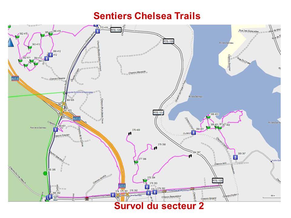 Sentiers Chelsea Trails Survol du secteur 2