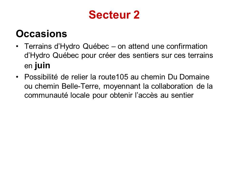 Occasions Terrains dHydro Québec – on attend une confirmation dHydro Québec pour créer des sentiers sur ces terrains en juin Possibilité de relier la route105 au chemin Du Domaine ou chemin Belle-Terre, moyennant la collaboration de la communauté locale pour obtenir laccès au sentier Secteur 2