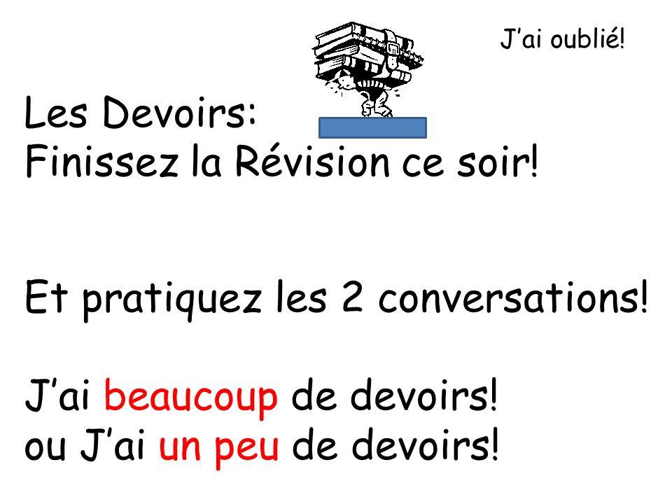 Les Devoirs: Finissez la Révision ce soir.Et pratiquez les 2 conversations.