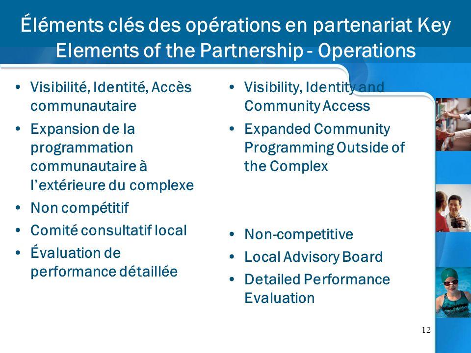 12 Éléments clés des opérations en partenariat Key Elements of the Partnership - Operations Visibilité, Identité, Accès communautaire Expansion de la