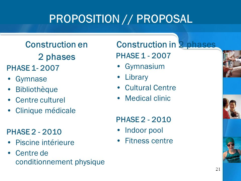21 PROPOSITION // PROPOSAL Construction en 2 phases PHASE 1- 2007 Gymnase Bibliothèque Centre culturel Clinique médicale PHASE 2 - 2010 Piscine intéri