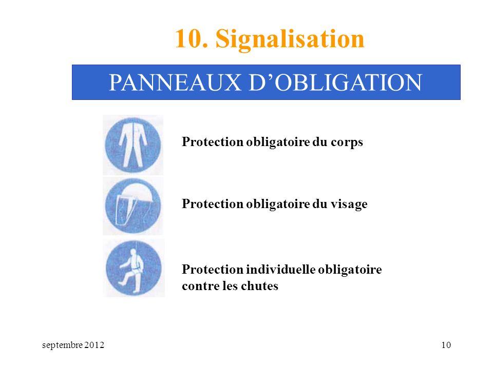 septembre 201210 10. Signalisation Protection obligatoire du corps PANNEAUX DOBLIGATION Protection obligatoire du visage Protection individuelle oblig