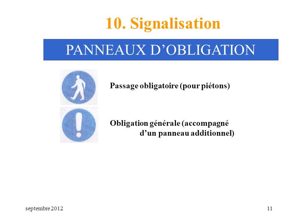 septembre 201211 10. Signalisation Passage obligatoire (pour piétons) PANNEAUX DOBLIGATION Obligation générale (accompagné dun panneau additionnel)