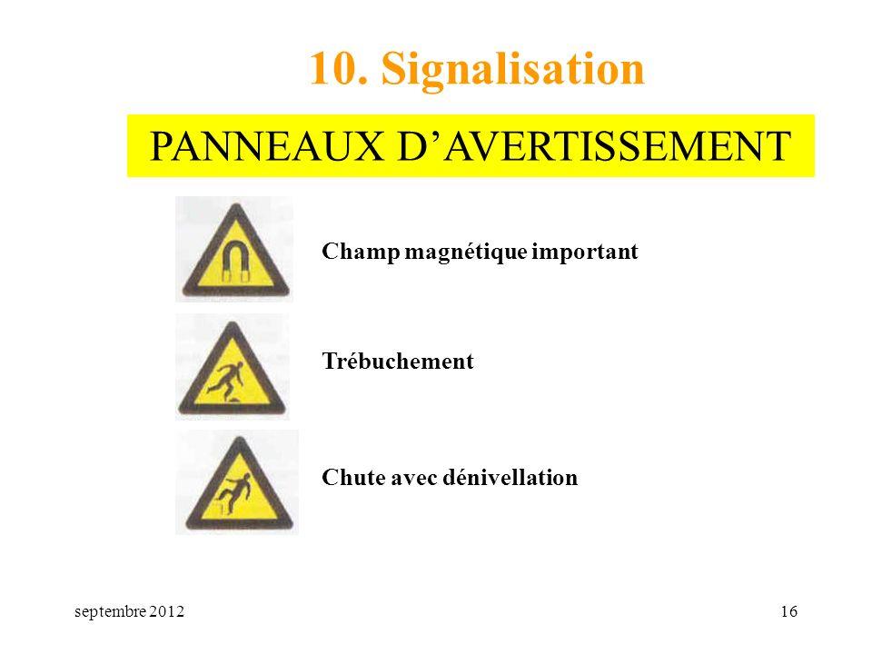 septembre 201216 10. Signalisation Champ magnétique important Trébuchement Chute avec dénivellation PANNEAUX DAVERTISSEMENT