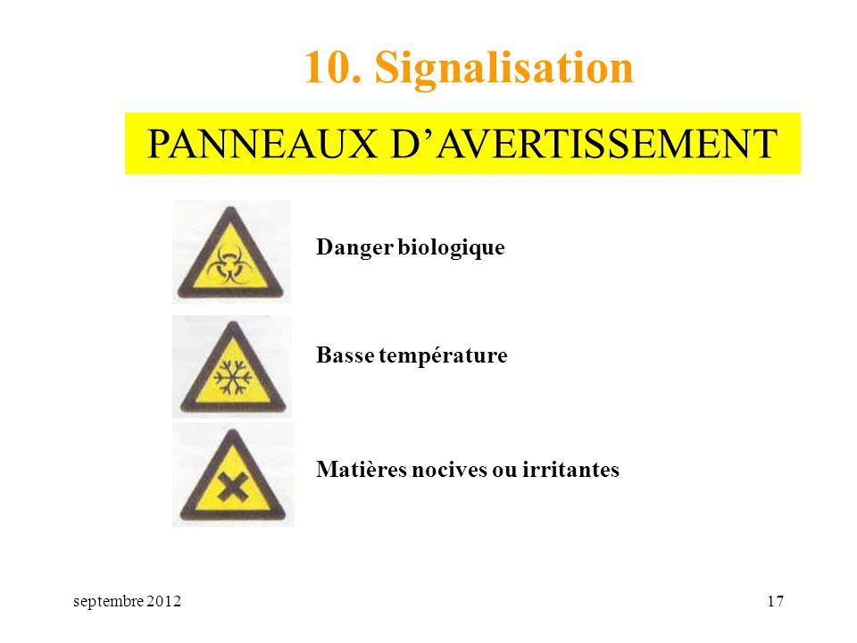 septembre 201217 10. Signalisation Danger biologique Basse température Matières nocives ou irritantes PANNEAUX DAVERTISSEMENT