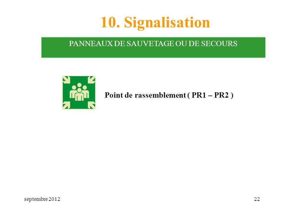 septembre 201222 10. Signalisation PANNEAUX DE SAUVETAGE OU DE SECOURS Point de rassemblement ( PR1 – PR2 )