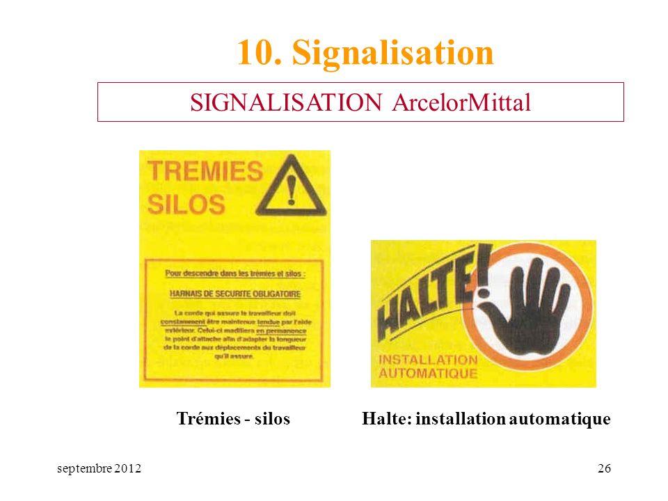 septembre 201226 Trémies - silosHalte: installation automatique 10. Signalisation SIGNALISATION ArcelorMittal