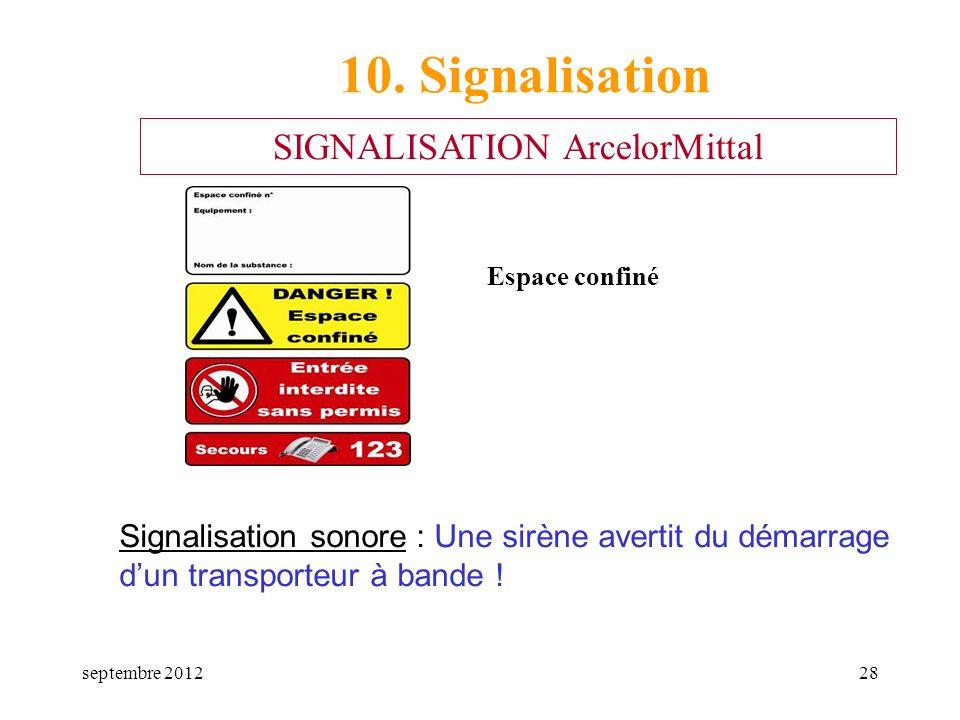 septembre 201228 Espace confiné 10. Signalisation SIGNALISATION ArcelorMittal Signalisation sonore : Une sirène avertit du démarrage dun transporteur