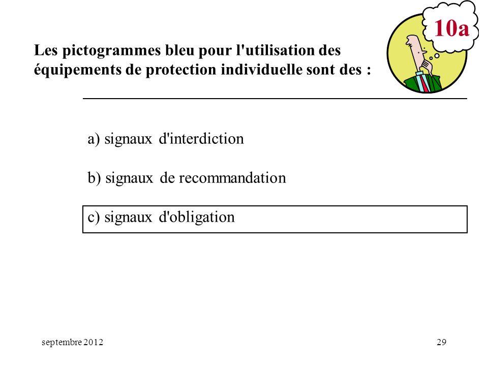 septembre 201229 a) signaux d'interdiction b) signaux de recommandation c) signaux d'obligation 10a Les pictogrammes bleu pour l'utilisation des équip
