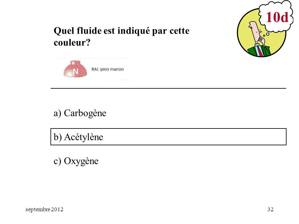 septembre 201232 a) Carbogène b) Acétylène c) Oxygène 10d Quel fluide est indiqué par cette couleur?