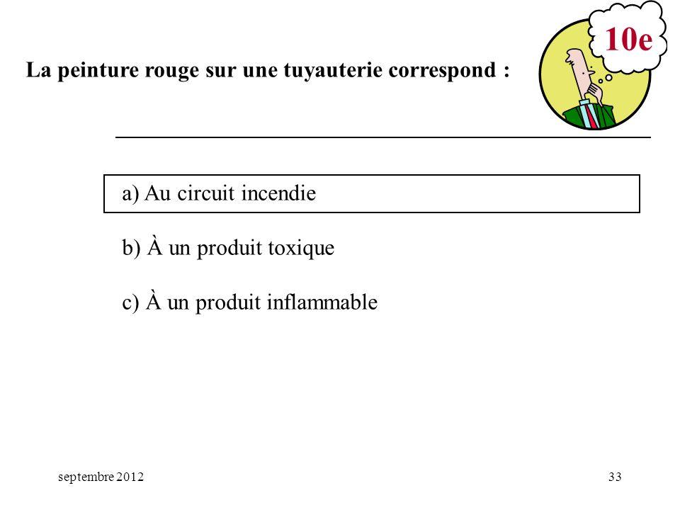 septembre 201233 a) Au circuit incendie b) À un produit toxique c) À un produit inflammable 10e La peinture rouge sur une tuyauterie correspond :