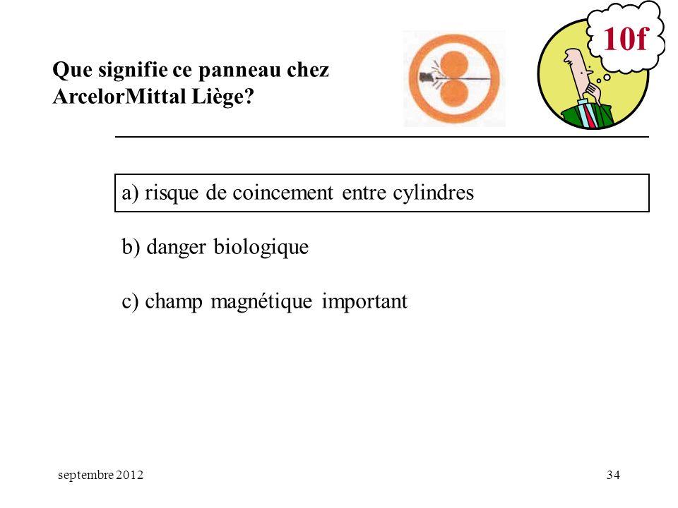 septembre 201234 a) risque de coincement entre cylindres b) danger biologique c) champ magnétique important 10f Que signifie ce panneau chez ArcelorMi