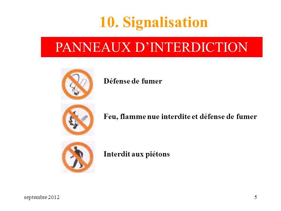 septembre 20125 10. Signalisation Défense de fumer Feu, flamme nue interdite et défense de fumer Interdit aux piétons PANNEAUX DINTERDICTION