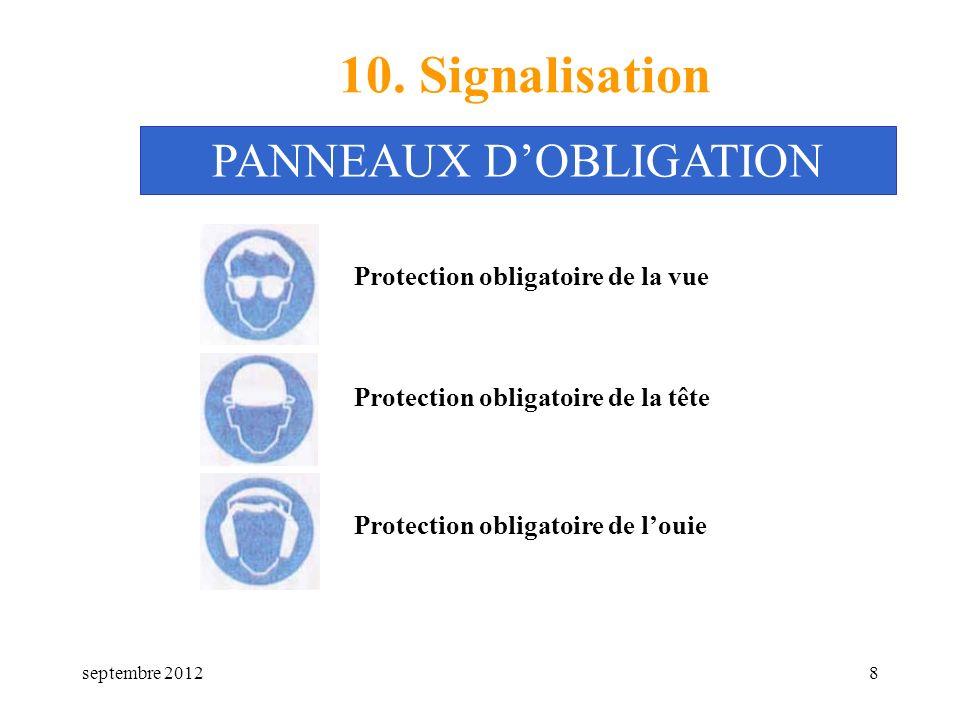 septembre 20128 10. Signalisation Protection obligatoire de la vue PANNEAUX DOBLIGATION Protection obligatoire de la tête Protection obligatoire de lo