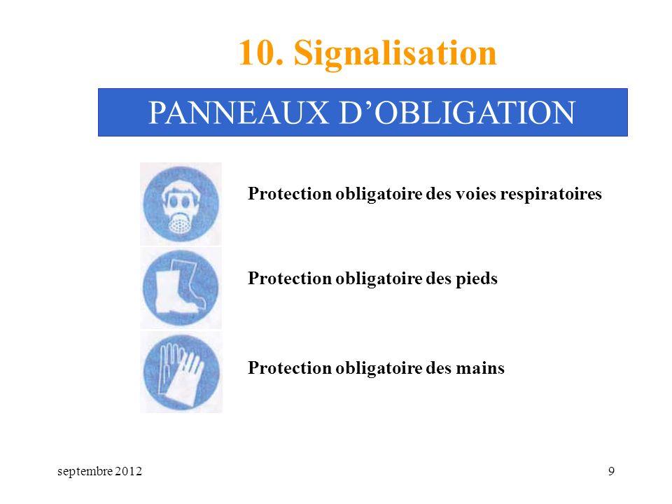 septembre 20129 10. Signalisation Protection obligatoire des voies respiratoires PANNEAUX DOBLIGATION Protection obligatoire des pieds Protection obli