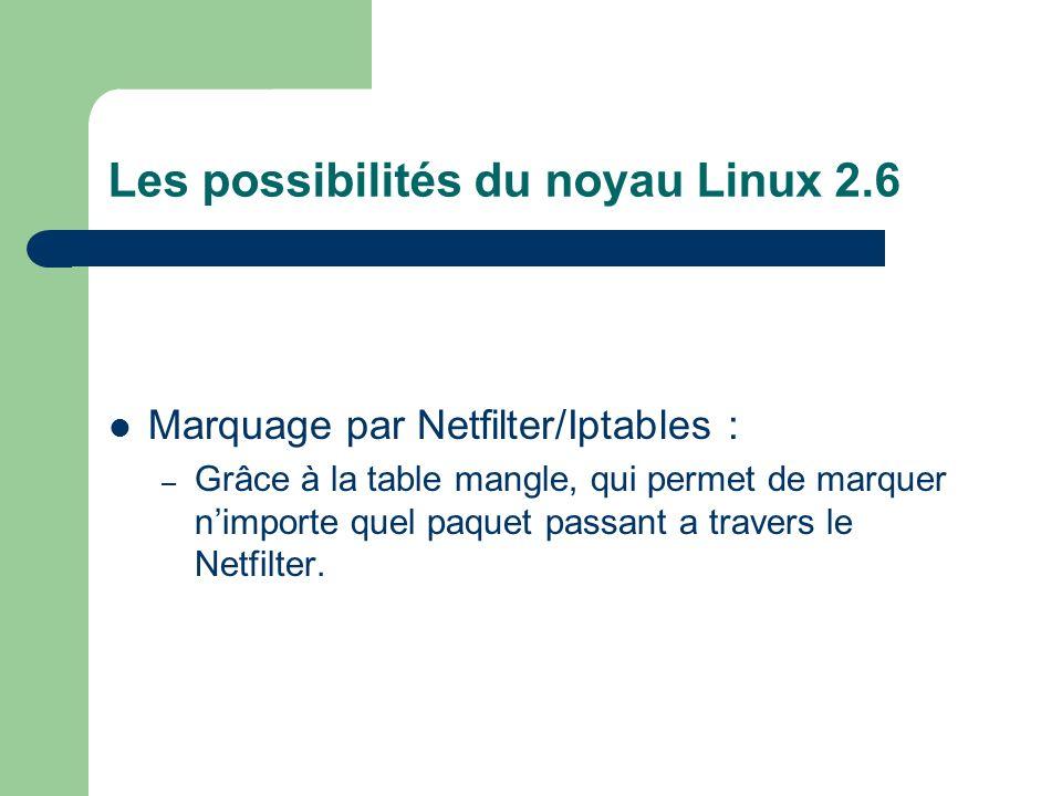 Les possibilités du noyau Linux 2.6 Marquage par Netfilter/Iptables : – Grâce à la table mangle, qui permet de marquer nimporte quel paquet passant a travers le Netfilter.