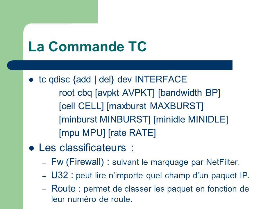 La Commande TC tc qdisc {add | del} dev INTERFACE root cbq [avpkt AVPKT] [bandwidth BP] [cell CELL] [maxburst MAXBURST] [minburst MINBURST] [minidle MINIDLE] [mpu MPU] [rate RATE] Les classificateurs : – Fw (Firewall) : suivant le marquage par NetFilter.
