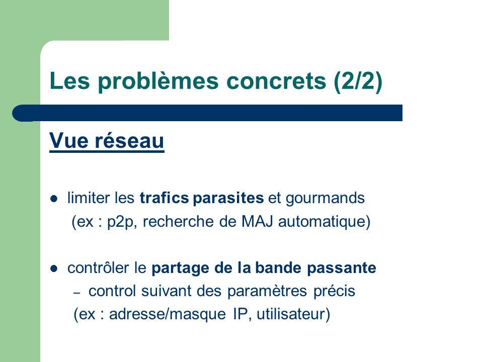 Les problèmes concrets (2/2) Vue réseau limiter les trafics parasites et gourmands (ex : p2p, recherche de MAJ automatique) contrôler le partage de la bande passante – control suivant des paramètres précis (ex : adresse/masque IP, utilisateur)