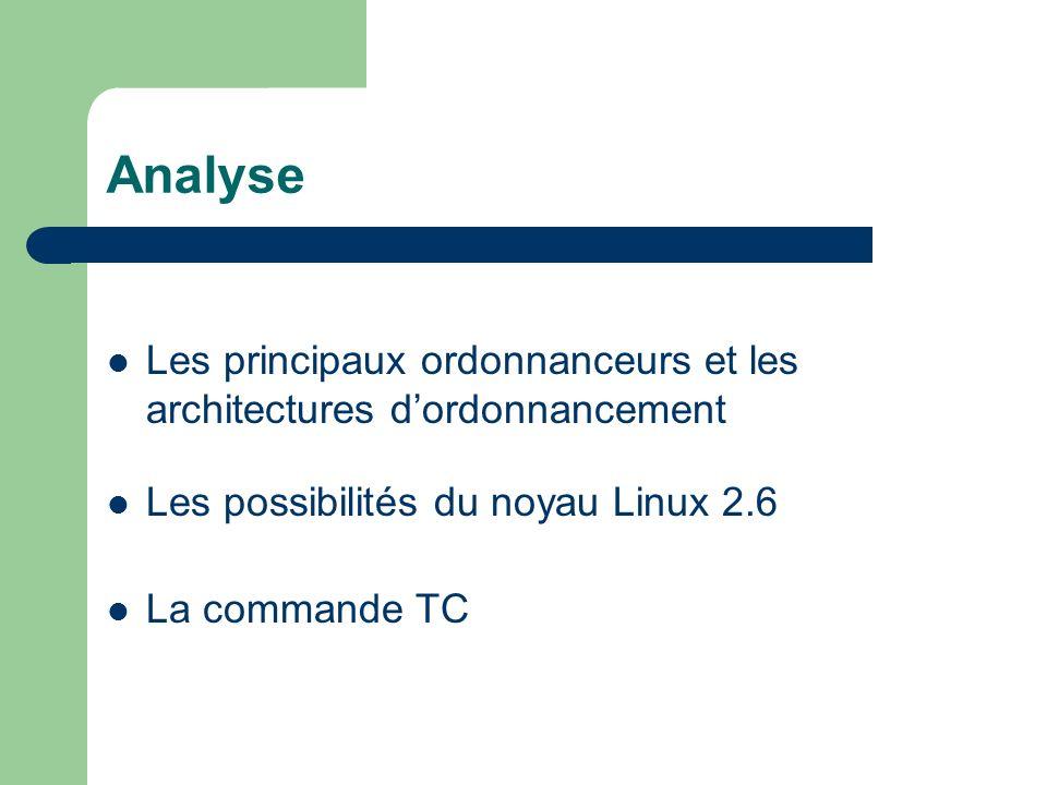 Analyse Les principaux ordonnanceurs et les architectures dordonnancement Les possibilités du noyau Linux 2.6 La commande TC