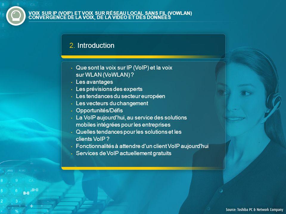 2. Introduction Que sont la voix sur IP (VoIP) et la voix sur WLAN (VoWLAN) ? Les avantages Les prévisions des experts Les tendances du secteur europé