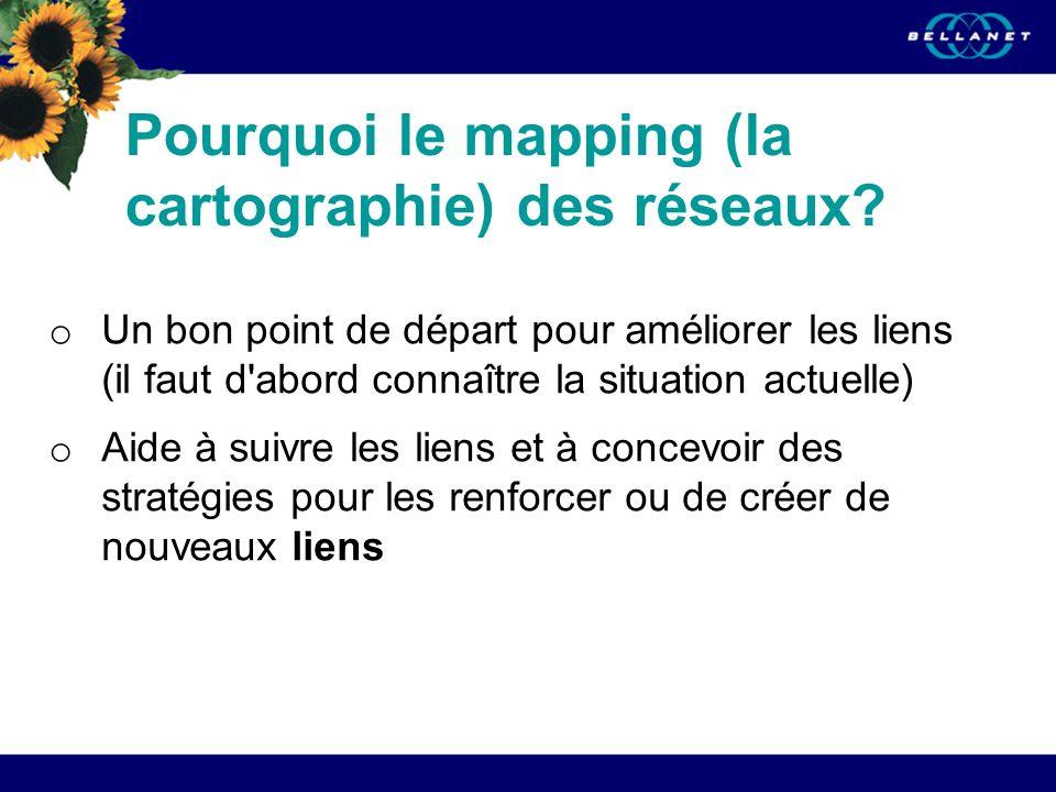 Pourquoi le mapping (la cartographie) des réseaux? o Un bon point de départ pour améliorer les liens (il faut d'abord connaître la situation actuelle)