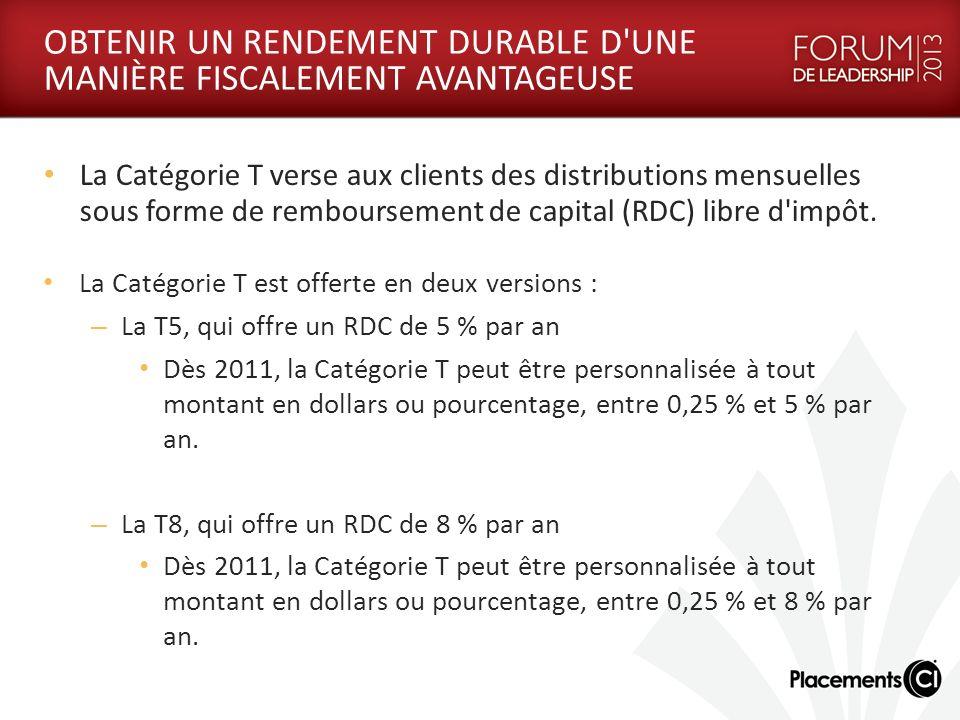 OBTENIR UN RENDEMENT DURABLE D UNE MANIÈRE FISCALEMENT AVANTAGEUSE La Catégorie T verse aux clients des distributions mensuelles sous forme de remboursement de capital (RDC) libre d impôt.