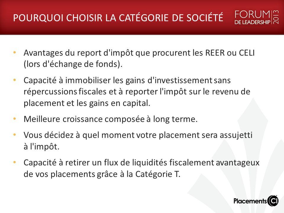 CATÉGORIE DE SOCIÉTÉ CI CI a conçu et gère la structure de catégorie de société fiscalement avantageuse de manière à offrir : Une diversification au niveau des catégories d actif, permettant de contrebalancer les gains et pertes en capital.