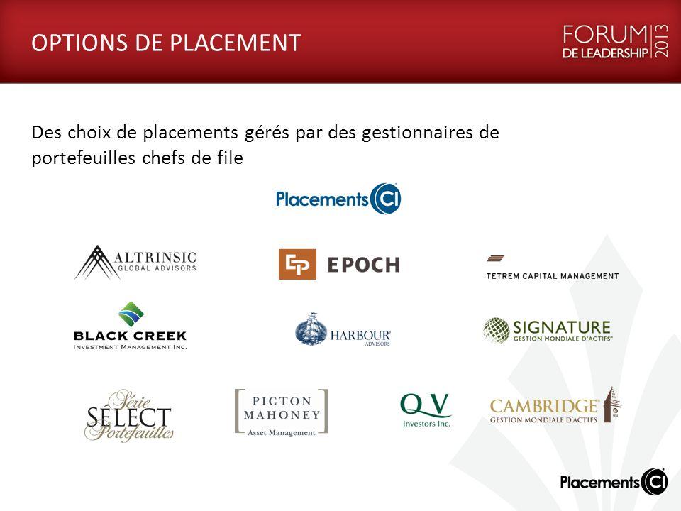 OPTIONS DE PLACEMENT Des choix de placements gérés par des gestionnaires de portefeuilles chefs de file